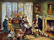George Washington (1732-1799) First President of the United States of America (1789-1797).  Washington at home with his family. After painting by Edward P Moran (1862-1935).
