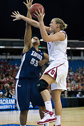March 29, 2010; Sacramento, CA, USA; Stanford Cardinal forward/center Jayne Appel (2) shoots over Xavier Musketeers center Ta'Shia Phillips (53) during the first half in the finals of the Sacramental regional in the 2010 NCAA womens basketball tournament at ARCO Arena. Stanford defeated Xavier 55-53.