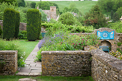 The Armillary Court and Well Court gardens at Snowshill Manor
