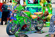SEMA 2011 in Las Vegas Nevada, an automobile after market show. Horny Helmet painted motorcycle at the Badger Airbrush booth.