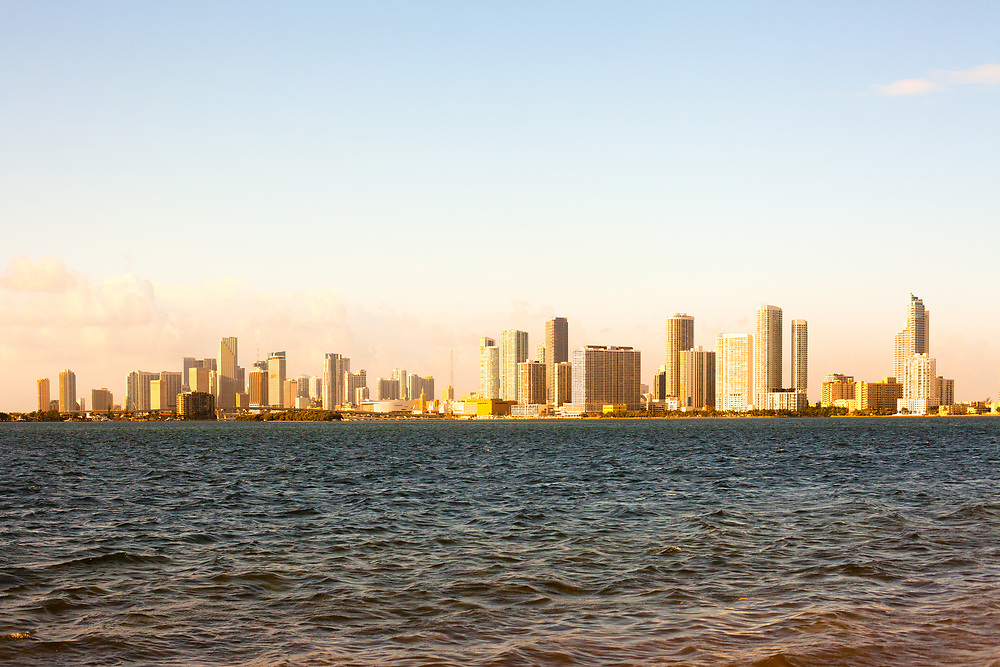 Downtown skyline of Miami at sunset, Florida, USA