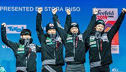 24.02.2019, Medal Plaza, Seefeld, AUT, FIS Weltmeisterschaften Ski Nordisch, Seefeld 2019, Skisprung, Herren, Teambewerb, Siegerehrung, im Bild Bronzemedaillengewinner Yukiya Sato, Daiki Ito, Junshiro Kobayashi, Ryoyu Kobayashi (JPN) // Yukiya Sato Daiki Ito Junshiro Kobayashi Ryoyu Kobayashi of Japan during the winner ceremony for the men's skijumping Team competition of FIS Nordic Ski World Championships 2019 at the Medal Plaza in Seefeld, Austria on 2019/02/24. EXPA Pictures © 2019, PhotoCredit: EXPA/ Stefan Adelsberger