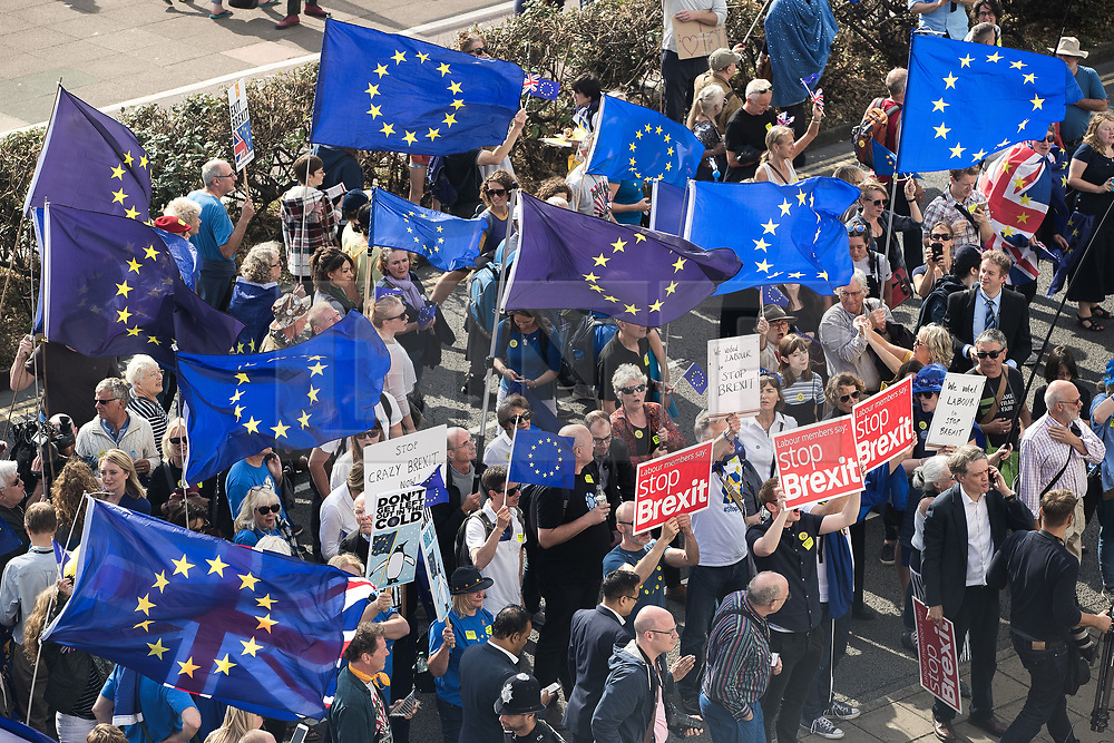 © Licensed to London News Pictures . 24/09/2017. Brighton, UK. A Stop Brexit march and rally passes the Brighton Centre where the Labour Party are holding their annual conference . Protesters won't the results of the EU exit referendum to be nullified . The first day of the Labour Party Conference in and around The Brighton Centre . Photo credit: Joel Goodman/LNP