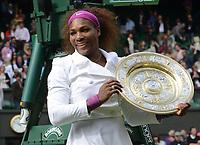 Wimbledon Week 2 : Tennis Championships 2012<br /> Ladies singles final. Credit : Andrew Cowie / Colorsport. 07/07/2012 <br /> Serena Williams v Agnieszka Radwanska.<br /> Serena Williams with the Ladies Plate