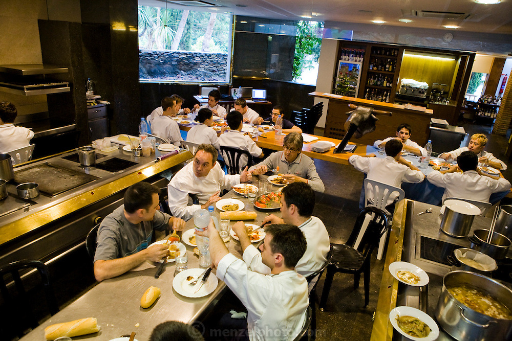 Staff at the famous El Bulli restaurant near Rosas,  on the Costa Brava in Northern Spain, during the afternoon staff meal.