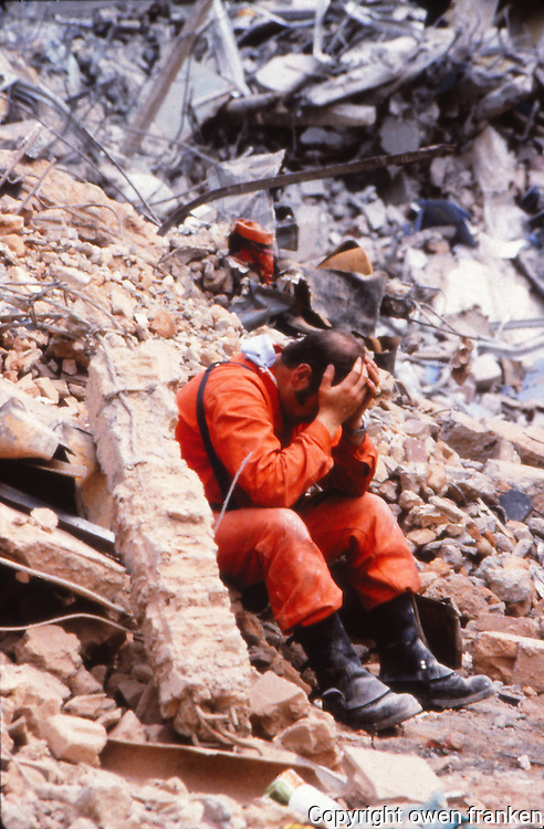 rescue worker, Mexico City Earthquake, 1985