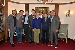 Left to right, CHRIS GALVIN, MARCO PIERRE WHITE, PIERRE KOFFMANN, EWEN VENTERS, ROGER PIZEY, BRUNO LOUBET, RAYMOND BLANC, JEFF GALVIN and GIORGIO LOCATELLI at lunch at a lunch hosted by Fortnum & Mason, Piccadilly, London on 29th January 2015 in honour of Marco Pierre White and the publication of White Heat 25.