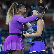 2019 US Open Tennis Tournament- Day Thirteen.    Bianca Andreescu of Canada with the winners trophy and Serena Williams of the United States embrace after the trophy presentation after the Women's Singles Final on Arthur Ashe Stadium during the 2019 US Open Tennis Tournament at the USTA Billie Jean King National Tennis Center on September 7th, 2019 in Flushing, Queens, New York City.  (Photo by Tim Clayton/Corbis via Getty Images)