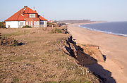 House at risk from coastal erosion, Easton Bavents, Southwold, Suffolk, England
