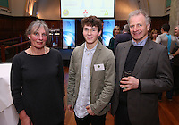 REPRO FREE***PRESS RELEASE NO REPRODUCTION FEE***<br /> Irish Sailing Awards, Royal College of Surgeons, Stephen's Green, Dublin 4/2/2016<br /> National Yacht Club sailor Liam Shanahan was named the 2015 Irish Sailor of the Year today at the Irish Sailing Awards in Dublin - Shanahan had a remarkable year, including victory in the Dun Laoghaire to Dingle race in June on his boat Ruth with two miles to spare.<br /> Kilkenny's Doug Elmes and Malahide's Colin O'Sullivan jointly took home the Irish Sailing Association (ISA) Youth Sailor of the Year award. The Howth Yacht Club sailors were hotly tipped following their recent Bronze medal success at the 2015 Youth World Championships in Malaysia, where they took Ireland's first doublehanded youth worlds medal in 19 years.<br /> The Mitsubishi Motors Sailing Club of the Year award was presented to the Royal Irish Yacht Club in honour of their success at local, national and international level.<br /> Mullingar Sailing Club took home the ISA Training Centre of the Year award, having been nominated as winners of the western-region Training Centre of the Year.<br /> Pictured is Fergus Ogden (Sailor of the Month nominee) with parents Jennifer and Warren<br /> Mandatory Credit ©INPHO/Cathal Noonan