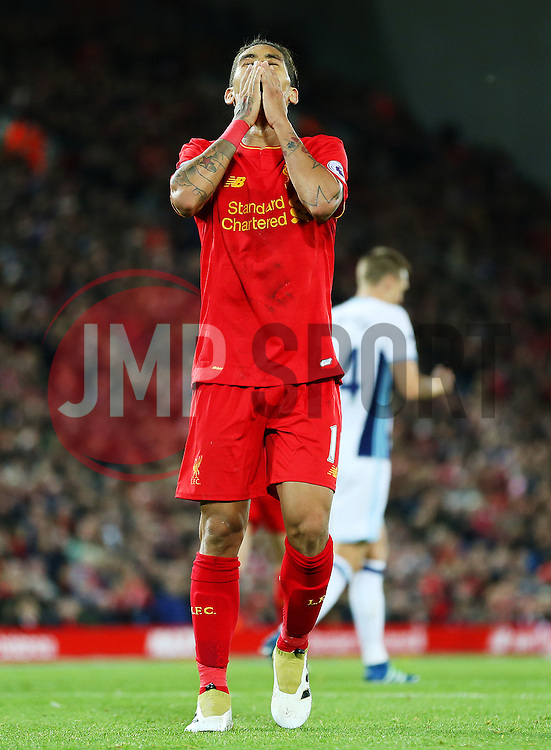 Roberto Firmino of Liverpool reacts after missing a chance - Mandatory by-line: Matt McNulty/JMP - 22/10/2016 - FOOTBALL - Anfield - Liverpool, England - Liverpool v West Bromwich Albion - Premier League