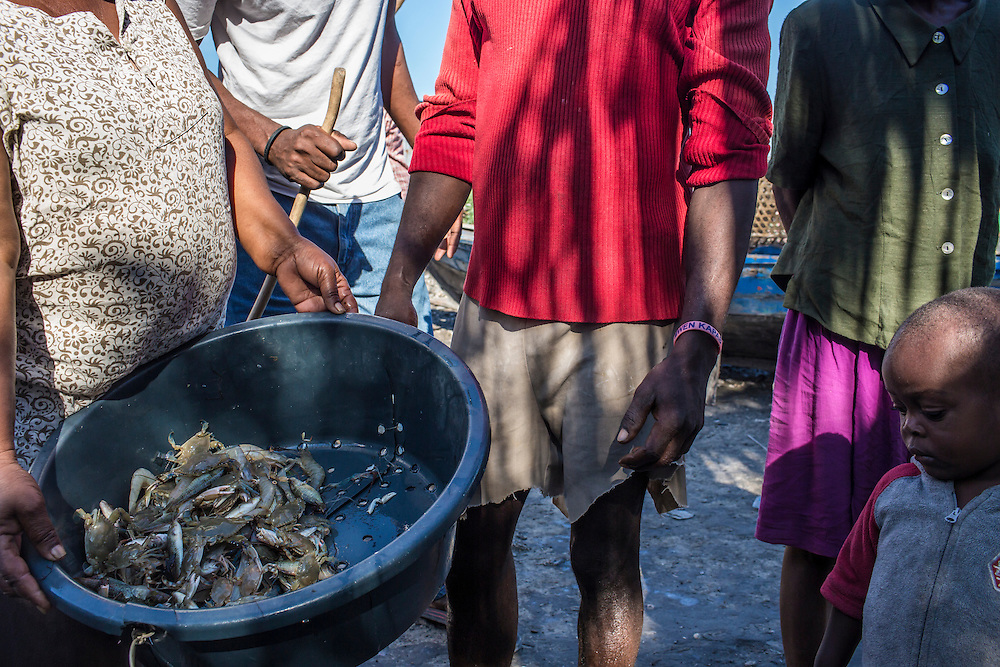 A woman shows crabs and shimp caught locally on Monday, December 15, 2014 in Port-au-Prince, Haiti.