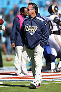 St. Louis Rams head coach Jeff Fisher watches pregame warmups before the NFL week 7 football game against the Carolina Panthers on Sunday, Oct. 20, 2013 in Charlotte, N.C.. The Panthers won the game 30-15. ©Paul Anthony Spinelli