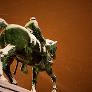 No open sleigh for this horse - King Albert I's statue at the front of the Garden of the Arts during a blast of snow in one of the heaviest snowfalls in Belgium in recent years