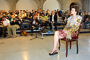 "VENICE, ITALY..49th Biennale of Venice.Press Conference at Teatro alle Tese..The company of Harald Szeemann, Curator of the Biennale, during the Biennale days, ""I'll be Your Angel"" performer Tania Ostoijc (on chair)..(Photo by Heimo Aga)"
