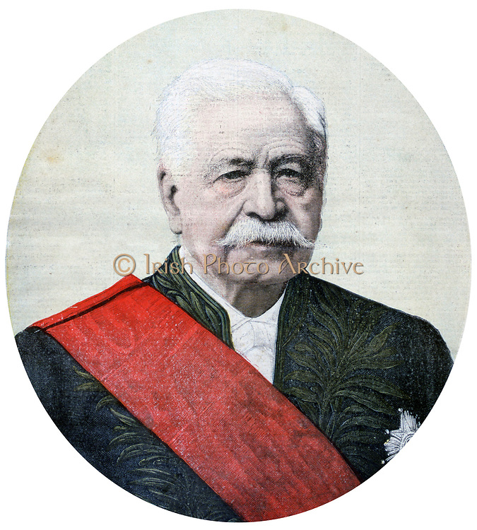 Ferdinand de Lesseps (1805-1894) French diplomat and promoter of the Suez Canal. He failed in his attempt to  complete a Panama Canal.  From 'Le Petit Journal', Paris, 16 December 1894.  Civil Enginering, Transport, Shipping, Canal