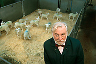Dr Ron James of PPL Therapeutics, the inventors of Dolly the Sheep, with a flock of transgenic lambs, at one of the company's premises in East Lothian.