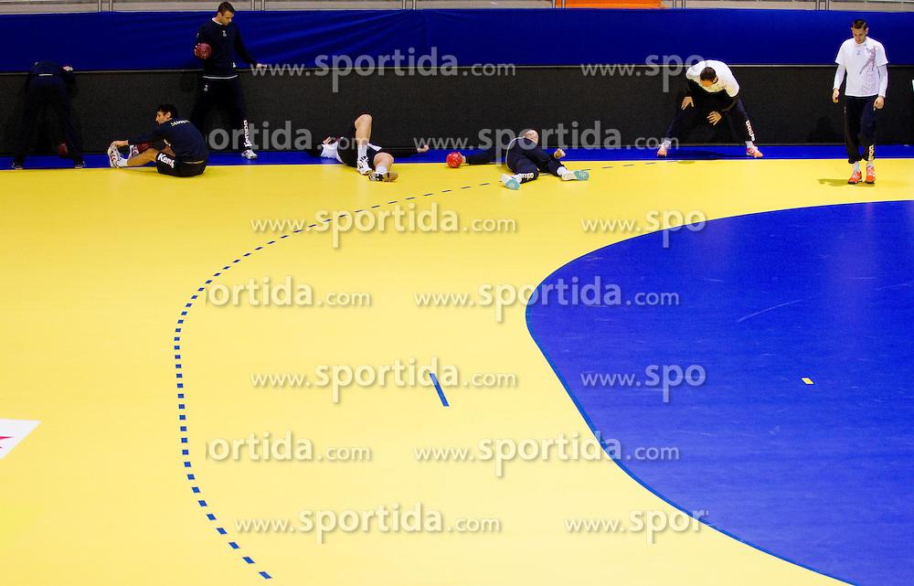 Players during practice of Slovenia Men Handball team 1 day before the beginning of 10th EHF European Handball Championship Serbia 2012, on January 14, 2012 in Vrsac, Serbia.  (Photo By Vid Ponikvar / Sportida.com)