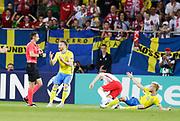 LUBLIN, POLEN 2017-06-19<br /> Filip Dagerst&aring;l orsakar straff under UEFA U21 matchen mellan Polen och Sverige den 19 juni p&aring; Arena Lublin, Polen.<br /> Foto: Nils Petter Nilsson/Ombrello<br /> Fri anv&auml;ndning f&ouml;r kunder som k&ouml;pt U21-paketet.<br /> Annars Betalbild.<br /> ***BETALBILD***
