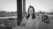 Hema Malini, an Indian movie star's lifesize cut out promotes a water purifying system on the banks of Arpa.