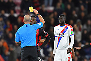 Booking - Jefferson Lerma (8) of AFC Bournemouth and Cheikhou Kouyate (8) of Crystal Palace arer shown yellow cards during the Premier League match between Bournemouth and Crystal Palace at the Vitality Stadium, Bournemouth, England on 1 October 2018.