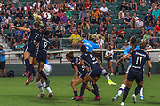 North Carolina Courage midfielder Samantha Mewis (5) and forward Lynn Williams (9) go up for a header in a game against Manchester City during an International Champions Cup women's soccer game, Thurday, Aug. 15, 2019, in Cary, NC. The North Carolina Courage defeated Manchester City Women 2-1.  (Brian Villanueva/Image of Sport)