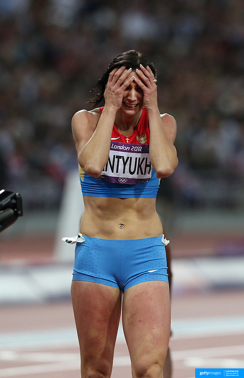 Natalya Antyukh, Russia, wins the Gold Medal during the Women's 400m Hurdles Final at the Olympic Stadium, Olympic Park, during the London 2012 Olympic games. London, UK. 8th August 2012. Photo Tim Clayton