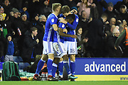 Birmingham City midfielder Jacques Maghoma (19) scores a goal 1-0 and celebrates during the EFL Sky Bet Championship match between Birmingham City and Leeds United at St Andrews, Birmingham, England on 30 December 2017. Photo by Alan Franklin.
