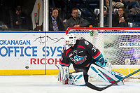 KELOWNA, CANADA - NOVEMBER 23:  Roman Basran #30 of the Kelowna Rockets makes a second period save against the Victoria Royals on November 23, 2018 at Prospera Place in Kelowna, British Columbia, Canada.  (Photo by Marissa Baecker/Shoot the Breeze)