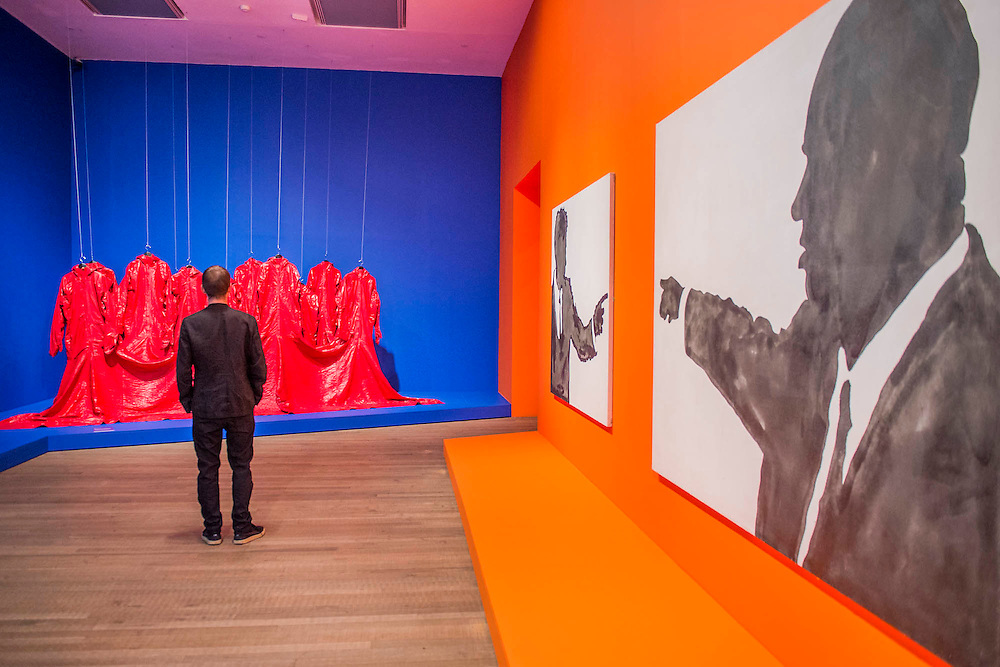 Red Coat 1973 by Nichola L - The EY Exhibition: The World Goes Pop, opens at the Tate Modern. The exhibition covers the full breadth of international Pop Art from the 1960s and 70s, 'exploding' the traditional story of Pop. The show features 'colourful and exciting' works from Latin America, Asia, Europe and the Middle East – the majority of which have never before been shown in the UK. Highlights include: Japanese pop artist Tajiri's striking large scale sculpture Machine No.7, surrounded by works by artists Ushio Shinohara, Erro, Equipo Cronica and Evelyne Axel; a mirrored full room installation specially recreated for this exhibition by Polish pop artist Jana Zelibska; and Henri Cueco's multi-layered sculptural work Large Protest 1969 seen in front of his painting The Red Men, bas-relief 1969, exploring the Cold War, Vietnam War and May 1968 protests in Paris. The Exhibition is at Tate Modern from 7 September 2015 - 24 January 2015.
