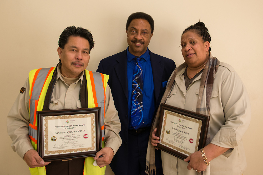 Presidio Division Operators of the Month  Santiago Lagandaon and Judith Renau With Assistant Superintendent Wallace Johnson | January 14, 2015