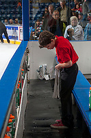 KELOWNA, CANADA - OCTOBER 4:  Kelowna Rockets bench  boys fill water bottles during intermission against the Portland Winterhawks at the Kelowna Rockets on October 4, 2013 at Prospera Place in Kelowna, British Columbia, Canada (Photo by Marissa Baecker/Shoot the Breeze) *** Local Caption ***