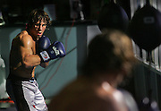 Urijah Faber does some warm up punching inside the gym as the morning light comes in through the window. The toughest guy in Sacramento is 5-foot-6 and 146 pounds. Urijah Faber may be small, but he is building a major reputation as an ultimate fighter world champion. He trains at the gym he owns in midtown. He's also different from the fighting stereotype. He is a UC Davis graduate, very articulate and was raised by hippie-style parents in Santa Barbara before moving to Sacramento.