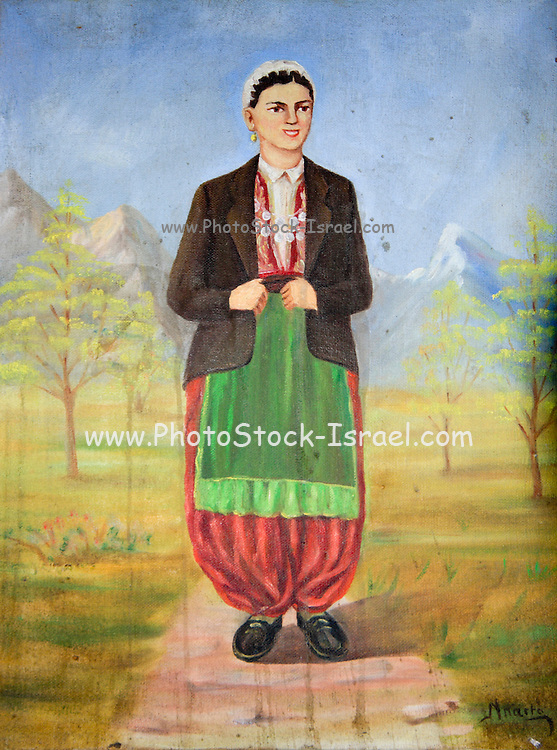 Albania progonat interior of a home a mural of a peasant woman