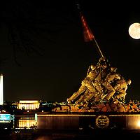 Washington DC Skyline with Full Moon, Washington DC, USA