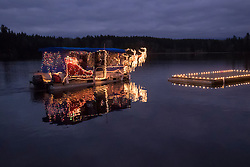 Washington, Black Diamond, Santa Boat on Lake Sawyer