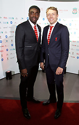 LIVERPOOL, ENGLAND - Tuesday, May 19, 2015: Kolo Toure and Lucas Leiva arrive on the red carpet for the Liverpool FC Players' Awards Dinner 2015 at the Liverpool Arena. (Pic by David Rawcliffe/Propaganda)