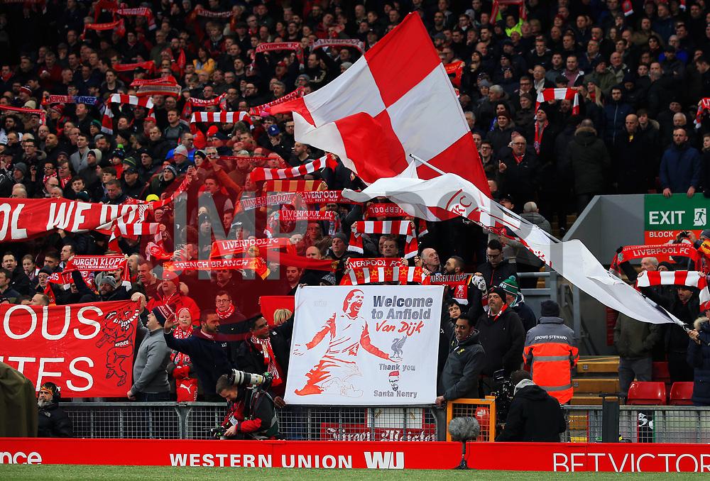 Liverpool fans hold up a Virgin van Dijk welcome sign - Mandatory by-line: Matt McNulty/JMP - 30/12/2017 - FOOTBALL - Anfield - Liverpool, England - Liverpool v Leicester City - Premier League