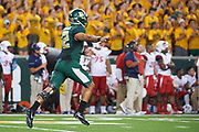 WACO, TX - SEPTEMBER 2:  Anu Solomon #12 of the Baylor Bears celebrates after a touchdown pass against the Liberty Flames during a football game at McLane Stadium on September 2, 2017 in Waco, Texas.  (Photo by Cooper Neill/Getty Images) *** Local Caption *** Anu Solomon