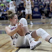 UNCASVILLE, CONNECTICUT- DECEMBER 4:  Katie Lou Samuelson #33 of the Connecticut Huskies reaches for her knee after falling during the UConn Huskies Vs Texas Longhorns, NCAA Women's Basketball game in the Jimmy V Classic on December 4th, 2016 at the Mohegan Sun Arena, Uncasville, Connecticut. (Photo by Tim Clayton/Corbis via Getty Images)