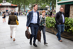 © Licensed to London News Pictures. 22/06/2016. London, UK. Former Deputy Prime Minister Nick Clegg leaves the LBC radio studios after discussing the EU referendum with Nick Ferrari and listeners on a radio phone-in. Clegg supports remaining in the EU. The referendum takes place tomorrow (23 June). Photo credit : Tom Nicholson/LNP