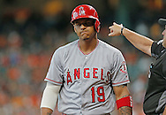 Jun 22, 2016; Houston, TX, USA; Los Angeles Angels left fielder Jefry Marte (19) reacts after striking out with the bases loaded to end the third inning against the Houston Astros at Minute Maid Park. Mandatory Credit: Thomas B. Shea-USA TODAY Sports