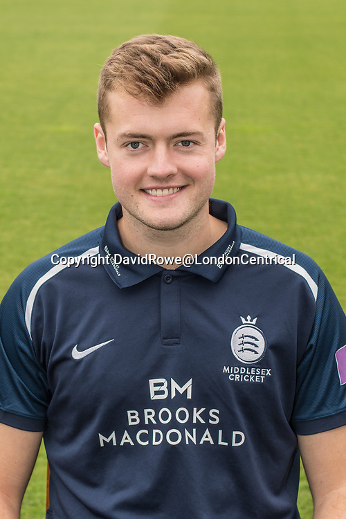 11 April 2018, London, UK.  Tom Helm of Middlesex County Cricket Club in the   blue Royal London one-day kit . David Rowe/ Alamy Live News