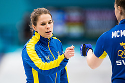 February 19, 2018 - Pyeongchang, SOUTH KOREA - 180219 Anna Hasselborg of Sweden in the Women's Curling Round Robin between Sweden and South Korea during day ten of the 2018 Winter Olympics on February 19, 2018 in Pyeongchang..Photo: Jon Olav Nesvold / BILDBYRN / kod JE / 160182 (Credit Image: © Jon Olav Nesvold/Bildbyran via ZUMA Press)