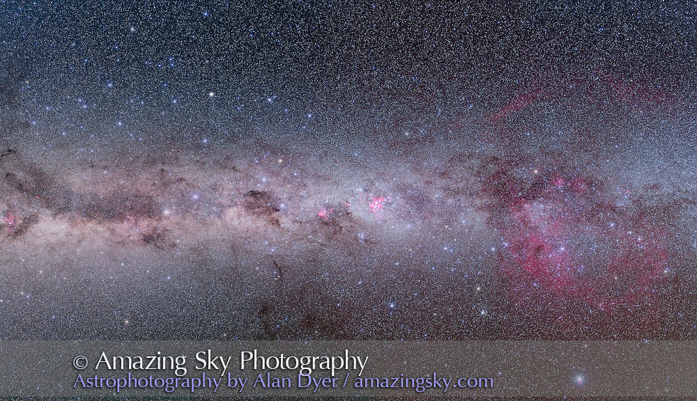 A 4-segment mosaic of the southern Milky Way from Vela (right) to Centaurus (left) taking in Carina and Crux (centre). Part of a larger 10-segment mosaic of the entire southern Milky Way shot in March 2010 from the Atacama Lodge, near San Pedro do Atacama in Chile. Each segment is a stack of 4 x 6 minute exposures at f/4 with a Canon L-series 35mm lens and modified Canon 5D MkII camera at ISO 800, plus an additional 6-minute exposure with the Kenko Softon filter layered in to add star glows.