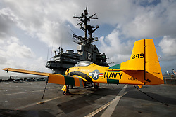 North American T-28 Trojan (138349) on the deck of the USS Hornet Museum, Alameda, California, United States of America