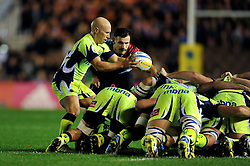 Peter Stringer of Sale Sharks puts the ball into a scrum - Mandatory byline: Patrick Khachfe/JMP - 07966 386802 - 06/11/2015 - RUGBY UNION - The Twickenham Stoop - London, England - Harlequins v Sale Sharks - Aviva Premiership.