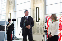 ROME, ITALY - 21 JULY 2014: (L-R) Mayor of New York Bill De Blasio answers questions by journalists during a press conference with Italian Minister of Foreign Affairs Federica Mogherini, at the Ministry of Foreign Affairs in Rome, Italy, on July 21st 2014.<br /> <br /> New York City Mayor Bill de Blasio arrived in Italy with his family Sunday morning for an 8-day summer vacation that includes meetings with government officials and sightseeing in his ancestral homeland.