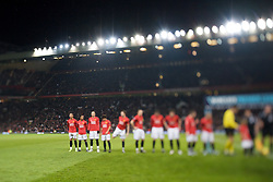 MANCHESTER, ENGLAND - Wednesday, January 14, 2009: Manchester United's World Player of the Year Christian Ronaldo stands with his team-mates as they prepare to face Wigan Athletic during the Premiership match at Old Trafford. (Photo by David Rawcliffe/Propaganda)