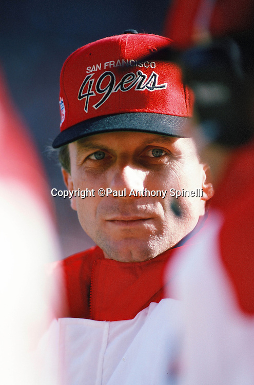 San Francisco 49ers quarterback Joe Montana (16) looks on from the sideline during the NFL football game against the Tampa Bay Buccaneers on Dec. 19, 1992 in San Francisco. The 49ers  won the game 21-14. (©Paul Anthony Spinelli)